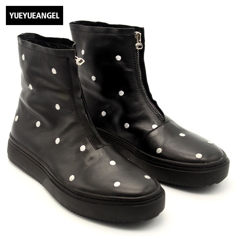 Casual Round Toe Polka Dot Men Boots Winter Zipper Black Cow Leather Platform Boots High Quality Concise High Top Hip Hop Botas 1056716