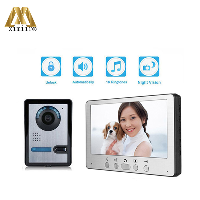 2017 New Arrived 7 inch Color Wired Video Door Phone Doorbell One To One Video Intercom Home Security System 815FA11