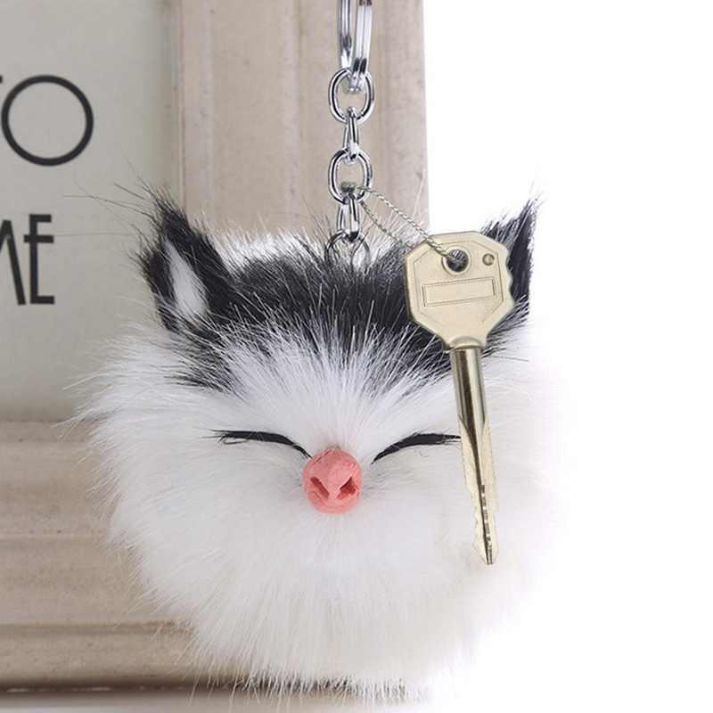 8*12 cm Gato Gatinho Bonito Saco Bulbo Capilar Bola Pom pom PomPom Pele de Coelho KeyChain Chave Pingente Cadeia clef Porte Para As Mulheres