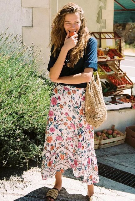 f1c3bf030e BOHO Romantic asymmetrical skirt floral print buttons frill hem summer  skirts women bohemian chic long skirt 2018 holiday beach