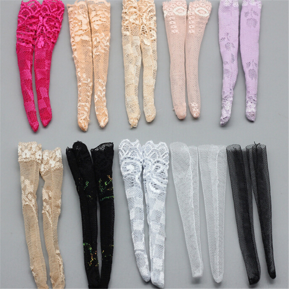 1/3pcs Colourful Lace Socks Mixed Style Long Stockings For  Doll Accessories Gifts Toy Random Daily Casual Wear Clothes