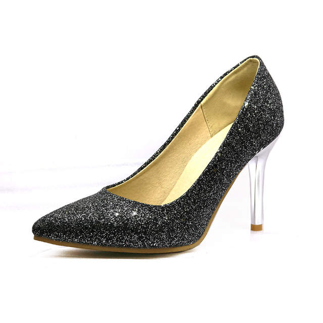 placeholder Brand New Sexy Black Gold Women Formal Pumps Sparkly High  Stiletto Heels Silver Lady Party Shoes c39c4246980b