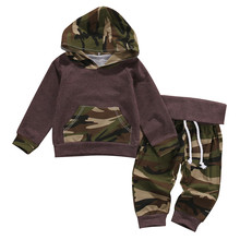 Autumn Baby Children Set Camouflage Baby Boys Suit Pocket Tops Hoodie +Long Pants 2Pcs Outfits Baby Set Clothes