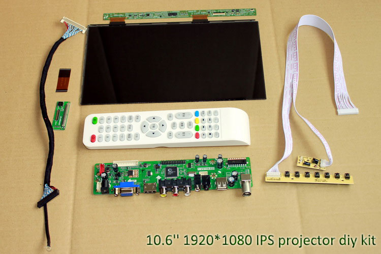 10.6 inch 1920*1080 IPS LCD display screen with driver board HDMI-VGA-AV-USB-TV DIY projector kit 800:1 for diy home cinema
