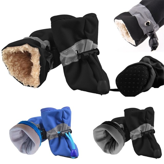 4pcs/set Pet Dog Shoes Puppy Winter Waterproof Anti-slip Rain Snow Boots Footwear Thick Warm For Small Cats Dogs Socks Booties 3