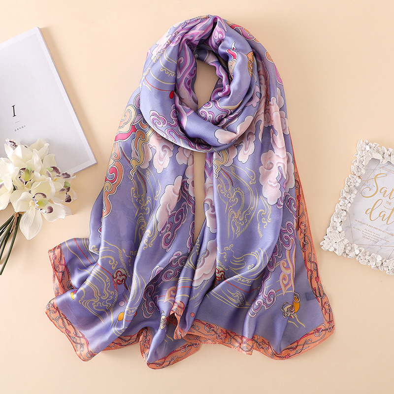 Ethnic Style Silk Scarf Women Vintage Print Shawl Wrap High Quality Soft Pashmina Elegant Lady Autumn Winter Neck Scarf Hijab