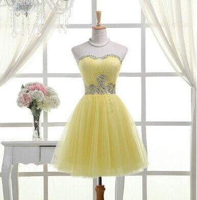Ladybeauty/; платье для сестер; короткое вечернее платье; топ-труба; короткие дизайнерские вечерние платья на шнуровке; платье для выпускного вечера; - Цвет: Цвет: желтый