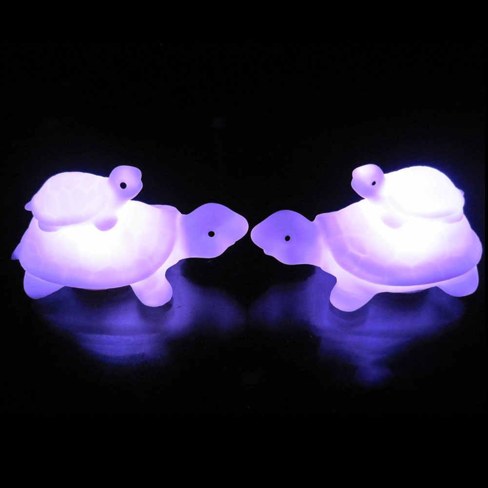 Colorido LED niño madre tortuga intermitente luz de noche niños habitación decoración lámpara caliente