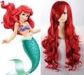 Высокое качество толстые принцесса ариэль парик косплей полный - насыщенный синтетические волосы длинные волнистые красные парики рапунцель женщин