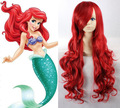 High Quality Thick The Little Mermaid Princess Ariel Wig Cosplay Full-bodied Synthetic Hair Long Wavy Red Wigs Rapunzel Women