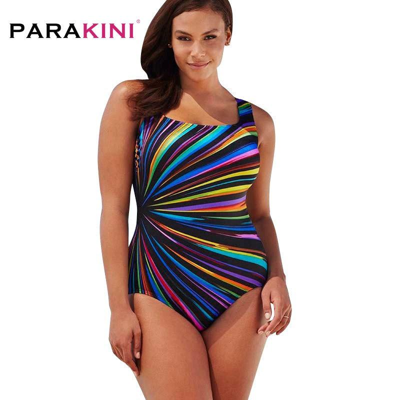PARAKINI Plus Size Swimwear Female Polka Dot One Piece Swimsuit Women Retro Vintage Bathing Suits Large Size One-Piece Monokini plus size polka dot trim swimwear