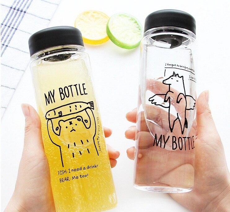 1 יחידות ניידת פלסטיק שקופה בקבוקי מים קיבולת גדולה הדפסת דוב משקאות מיץ תה Drinkware בקבוק מים 450 ml