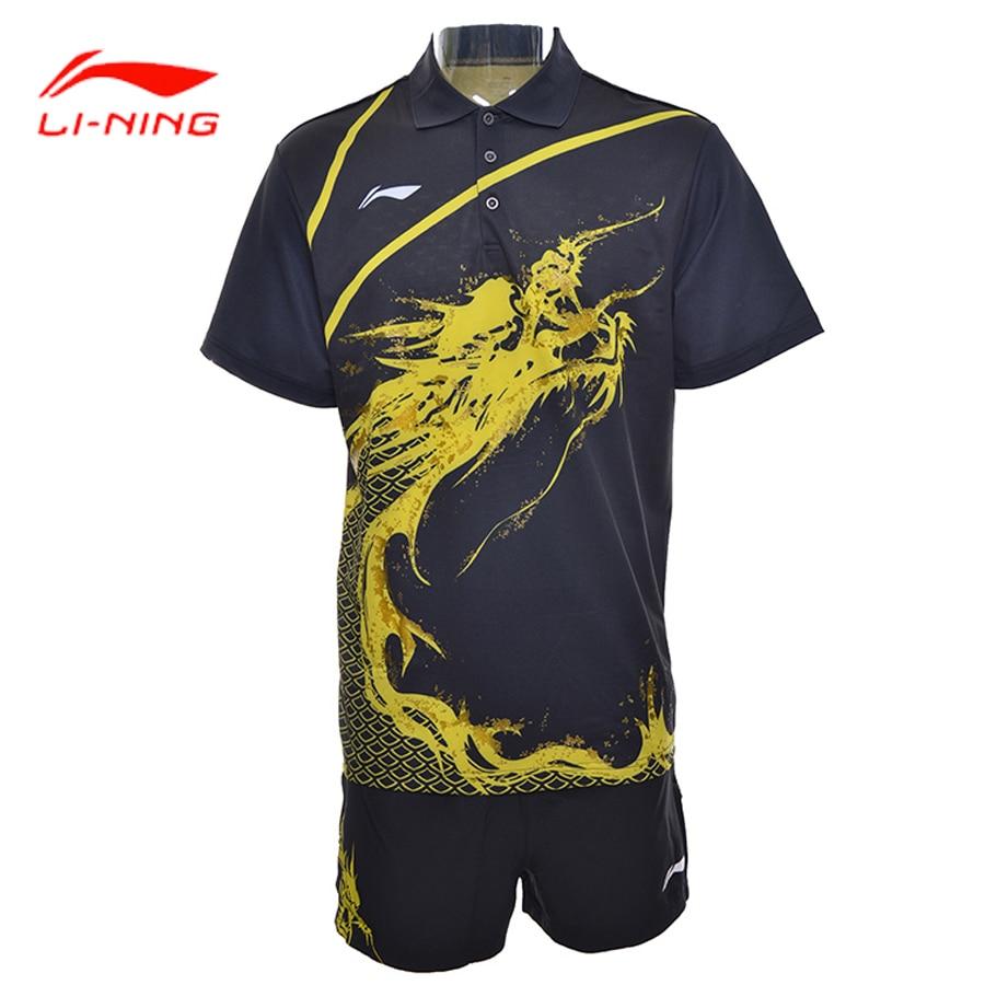 Li Ning Professional Men Table Tennis Sets Breathable T-Shirts Comfort Shorts Competition Sets Lycra Li Ning Sports Sets AQCG025