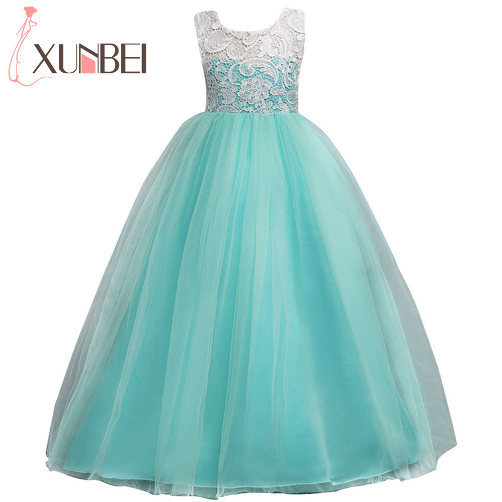 Floor Length Ball Gown   Flower     Girl     Dresses   2019 Soft Tulle Lace First Communion   Dresses   For   Girls   Kids Evening Gowns
