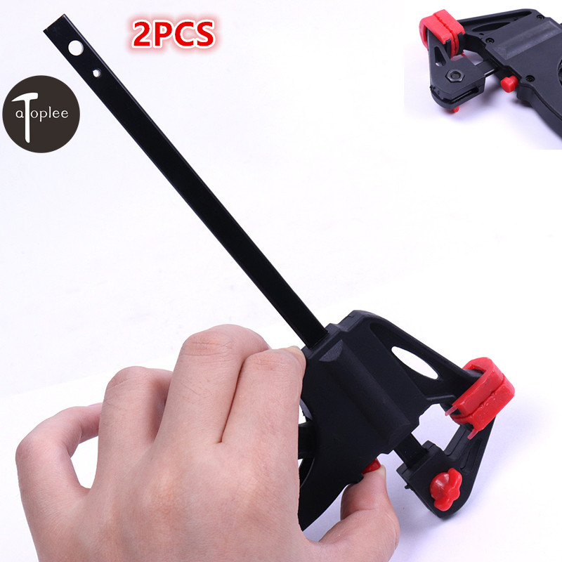 2PCS 4 Inch Quick Ratchet Release Speed Squeeze Woodworking Bar Clamp Clip Kit Spreader Gadget Tool DIY Hand Speed Clamp
