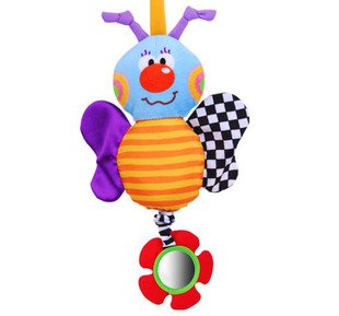 Candice guo! Cute baby toy colorful bee bed bell bed hang plush with sound paper and mirror 1pc