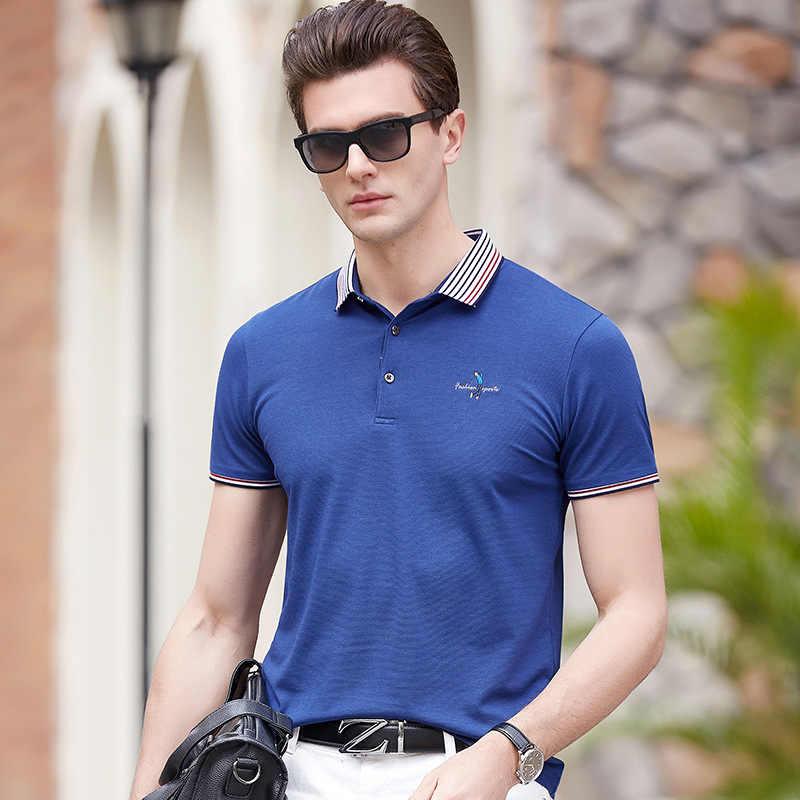 Gestreepte revers mannen casual korte mouwen Polo shirt 2019 zomer stijl borst creatieve borduurwerk mode effen kleur Polo shirt