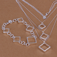 s064 бесплатная доставка серебряный набор, серебро комплект ювелирных изделий площади ожерелье и браслет оптовая продажа ювелирных изделий