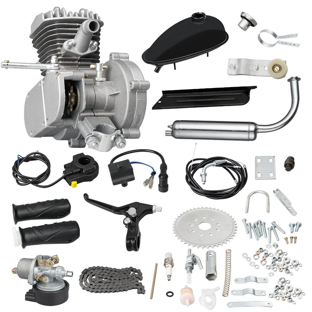 80CC Gasoline Motor For Motorcycle Bicycle, Gas Petrol Motor Complete Kit With Fuel Tank And Throttle 2-Stroke Petrol Engine Set