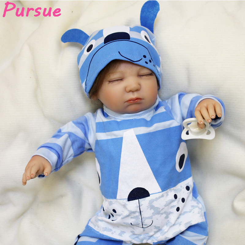 цена на Pursue 55 cm Sleep Real Life Like Baby Dolls Reborn Babies silicone baby boy dolls for Sale boneca bebe reborn barato menino 55