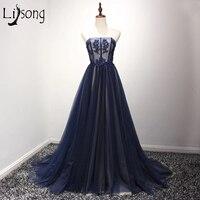 Azul marinho A Linha Até O Chão Vestidos Longos vestido de Noite Vestido de noiva Modest Mulheres Evening Formal Maxi Vestidos robe de sarau