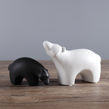 цена на Ceramic simplicity creative polar bear home decor crafts handicraft Cattle porcelain animal figurines & Miniatures decorations