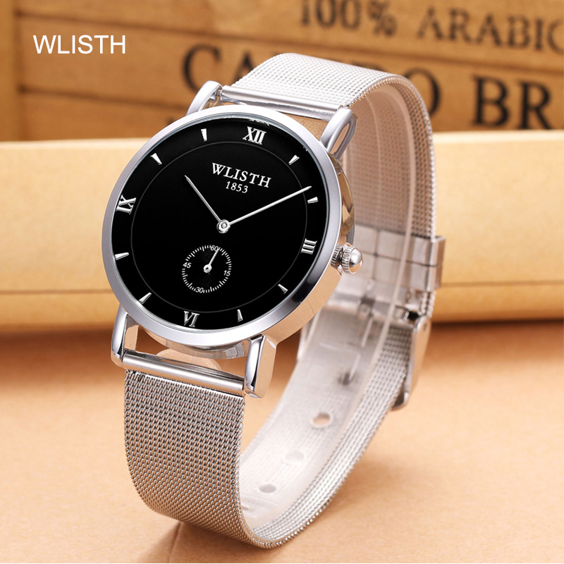 WLISTH WATCHES Fashion Casual Men's Watch Top Luxury Quartz Watch Mesh Strap Steel Small Second Plate Design Relogio Masculino(China)