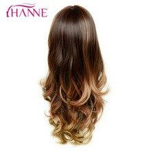 Ханне Mix коричневый белый 26 дюймов длинные волнистые парик с челкой высокое Температура волокна синтетические волосы парики для женщин партии или дневные