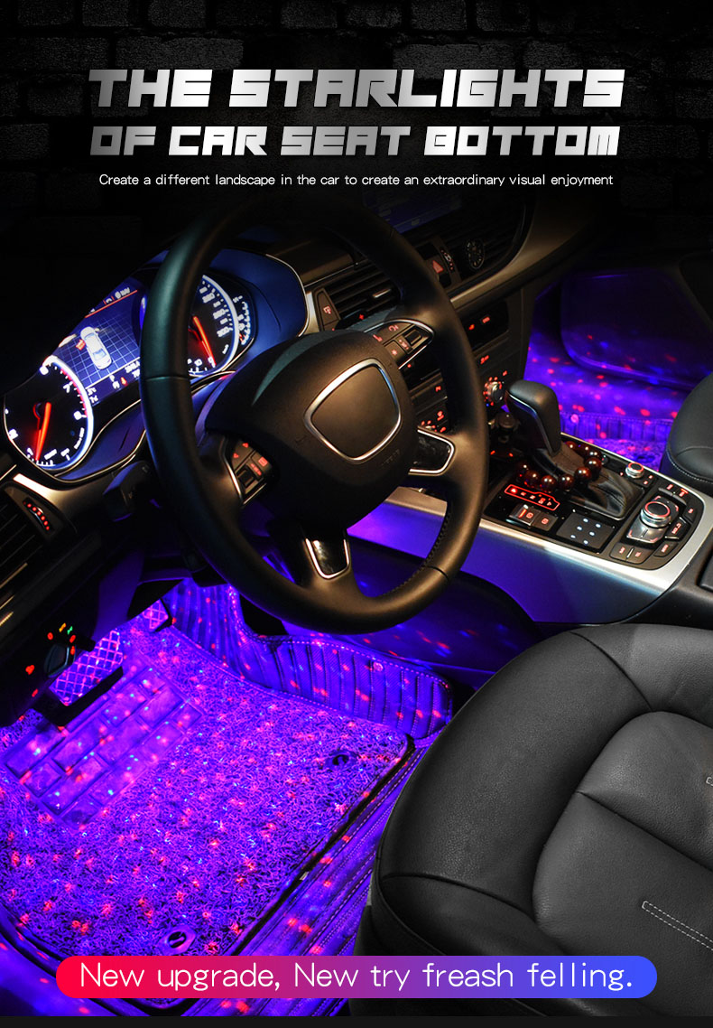 1set USB LED Car Atmosphere Ambient Star Light RGB Colorful Music Sound Lamp Remote Control Interior Decorative Light (18)