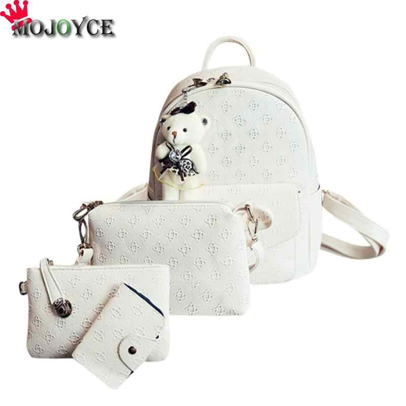 bfe6bfc8360d 4pcs set Women Composite Bags PU Leather Bear Pendant Backpack Clutch Purse  Female Girls Shoulder