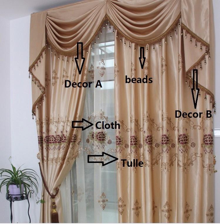 Bereit Vorhang 3 Teilelos Bestickte Vorhänge Mit Hakenstanzen