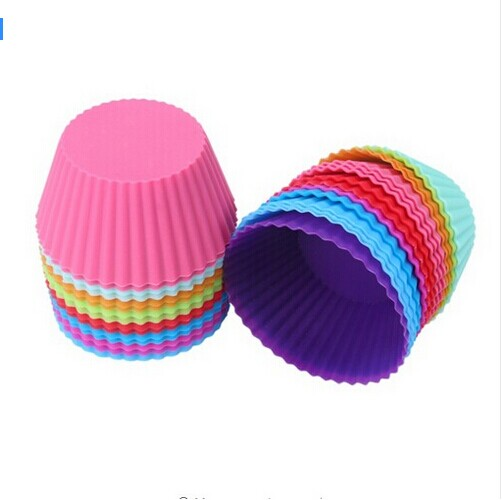 CHYY Silicon Cake Baking Moulds 7CM 12pcs 6 Colors Cupcake Liners Mold Muffin Round Bakeware Baking Pastry Tools