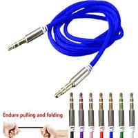 Cable auxiliar caliente 3,5mm Jack Cable de nailon conector de Metal macho a macho coche auxiliar Cable auxiliar para teléfono MP3