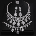 FAMOUS BRAND BRILLIANT CRYSTAL ZIRCON EARRINGS AND NECKLACE BRACELET RINGS FULL SET JEWELRY SET WEDDING DRESS ACCESSARIES