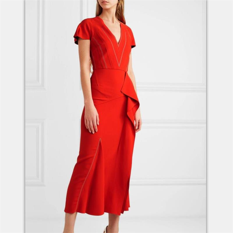 2019 Élégantes Robe cou Femmes Np0286j Décontracté D'été Robes Qualité Manches red Black Haute Courtes V Ressort Piste wE7qp
