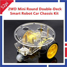 2WD Mini Round Double Deck Smart Robot Car Chassis DIY Kit for font b Arduino b