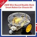2WD Mini ronda de dos pisos inteligente Robot Car Chassis DIY Kit para Arduino nueva