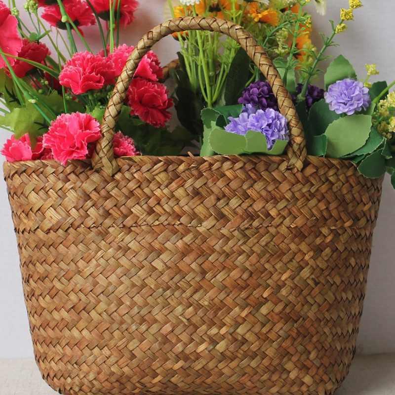 Saco de palha casual natural vime tote bags feminino trançado bolsa para jardim artesanal mini tecido rattan sacos