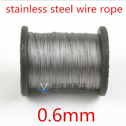 100meter/lot 0.6mm  Roll High Tensile Stainless Steel Wire Rope 7X7 Structure