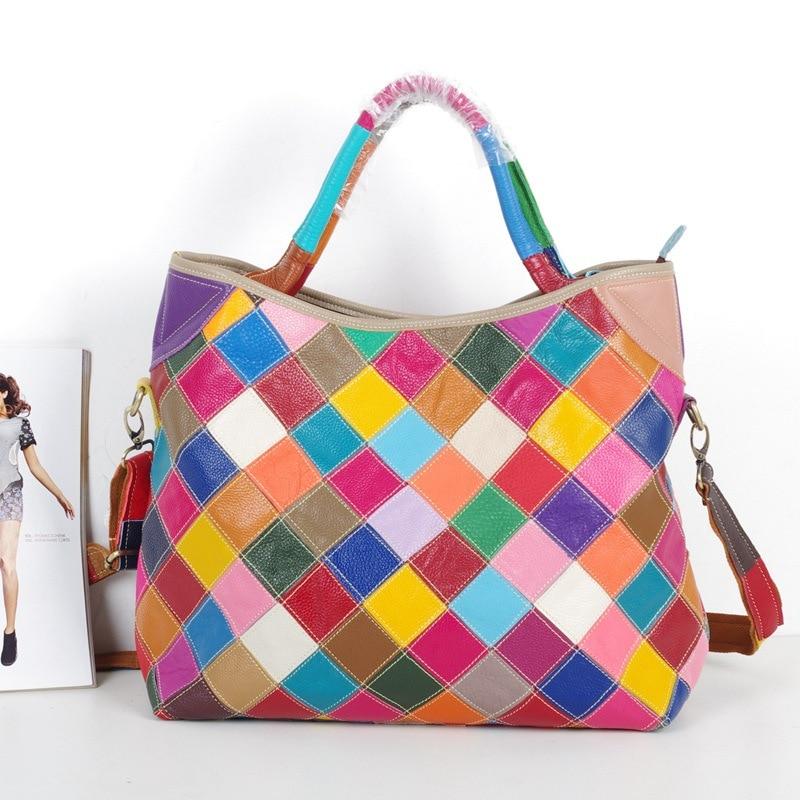 443 New Fashion Leather Top Layer Kraft Leather Totes Multicolor Handmade Colour Shoulder Bag Oblique Satchel Women Handbag