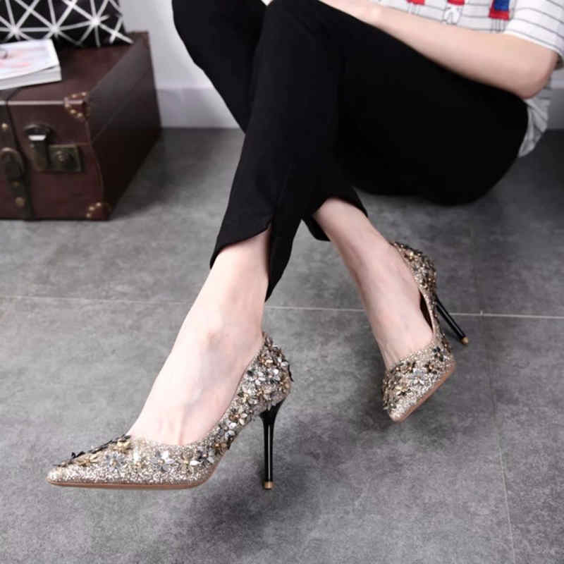SMTZZJ 2019 Brand High Heels Metal Floral Pointed Women Pumps Slip on Elegant Casual Party Shoes Wedding Bridals Thin Pumps