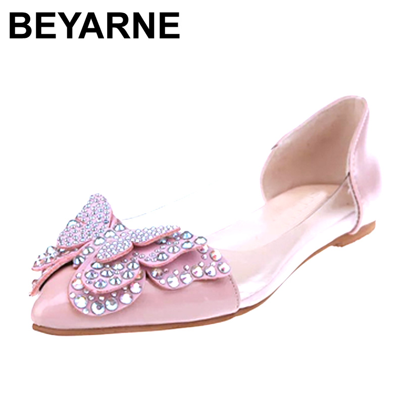 Beyarne primavera mujeres zapatos de los planos nuevo 2017 ballet de la bailarin