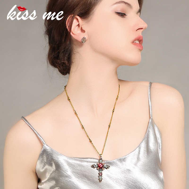KISS ME สีแดงสีเขียวแก้วอะคริลิค Cross สร้อยคอและจี้ GOLD CHAIN Link สีผู้หญิงสร้อยคอ Retro อุปกรณ์เสริม