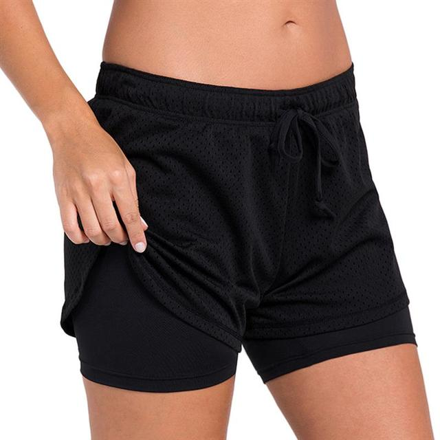 e803b4e33d8 US $10.0 23% OFF|Vbiger Women 2 in 1 Sports Shorts Double layer Yoga Shorts  Fake Running Shorts Workout Double Layer Fitness short pants-in Running ...