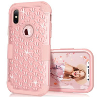 Hybrid Armor Case For Iphone X 8 Plus Soft Cover Diamond 3 In 1 Silicone Shockproof