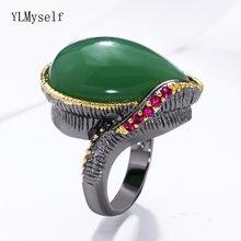 2021 Винтажное кольцо с крупными Зелеными камнями в форме капли