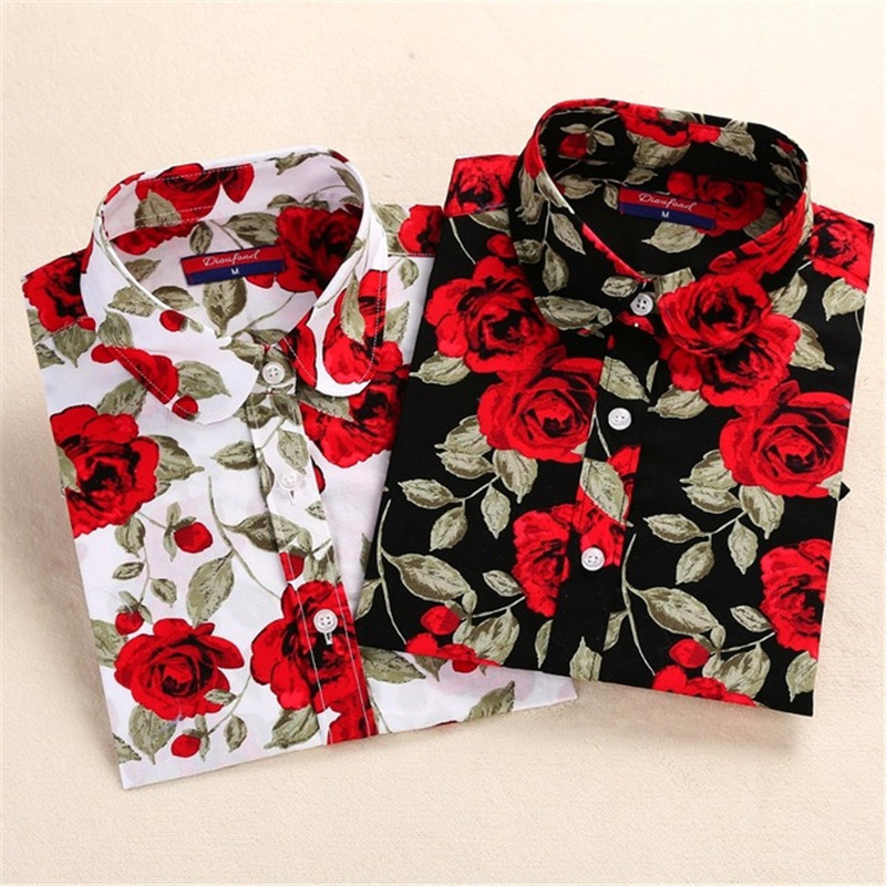 Dioufond New Women's Floral Print Blouses Cotton Shirts Women Vintage Turn-Down Collar Tops Ladies Work Long Sleeve Blouse