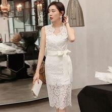 Женское кружевное платье yigelila Белое Облегающее Платье До