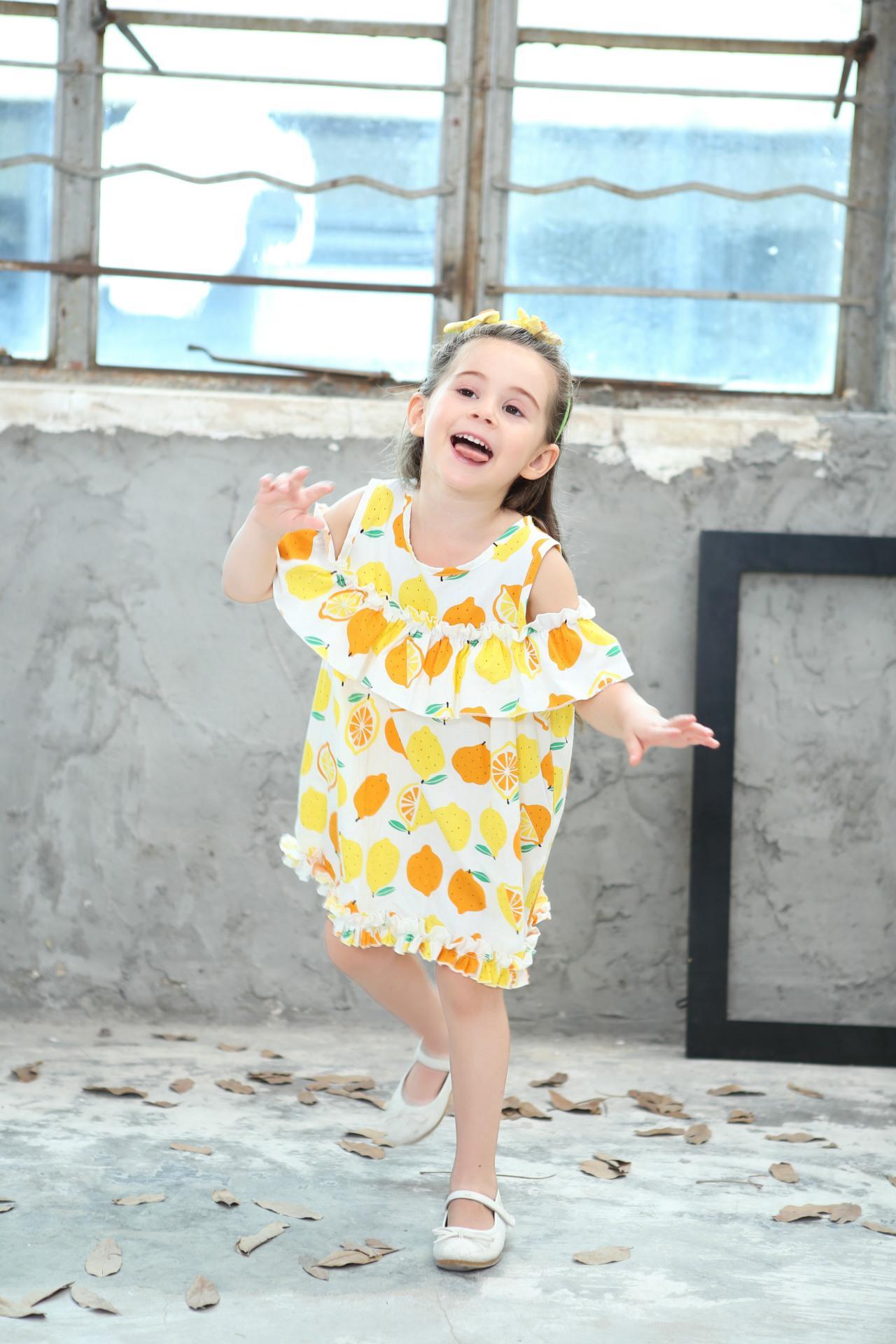 Lemon Printd Girls Dress 2018 New Summer Fashion Children Princess Dress Kids Children Clothes For 2 3 4 5 6 7 8 Years 1