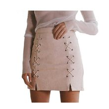 Women Leather Suede Pencil Mini Skirt 2018 Vintage Cross High Waist Short  Bodycon Zipper Lace Up Split Fashion Short Sexy Skirts 73b16aea6849